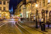 Rynok Square In Lviv At Night