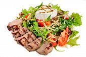 image of veal meat  - Veal meat with fresh vegetable salad - JPG