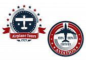 Circular aviation emblems or badges