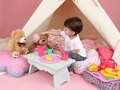 image of girlie  - Toddler child kid engaged in pretend play with food stuffed toys and teepee tent - JPG