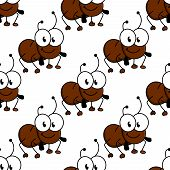 pic of googly-eyes  - Cute little cartoon ant seamless background pattern with a smiling face and googly eyes in a repeat motif - JPG