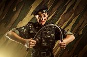 Strong army soldier woman