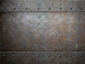 picture of ironclad  - grunge metal with rivets background - JPG