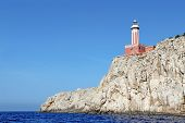 Punta Carena Lighthouse On The Island Of Capri, Italy