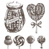 hand drawn caramels set in retro style