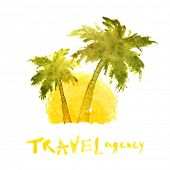 picture of washingtonia  - watercolor travel agency logo template - JPG