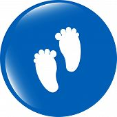 foto of webbed feet white  - footprint circle glossy web icon on white background - JPG