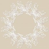 Round lacy ornament with butterflies. Vector illustration.