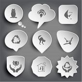 owl, bee, fish, killer whale as recycling symbol, cat, bats, bird in hands, home dog, protection sea life. White vector buttons on gray.