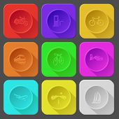 motorcycle, fueling station, bicycle, train, car fueling, airliner, road, yacht. Color set vector icons.