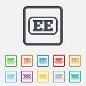 Estonian language sign icon. EE translation.
