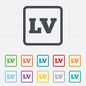 Latvian language sign icon. LV translation