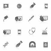Medical tests icons black