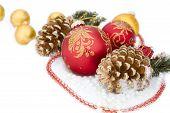 Christmas Red Ball, Twig Of Fir , Beads