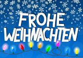 picture of weihnachten  - vector illustration of a chain of christmas lights Frohe Weihnachten  - JPG