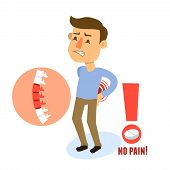 image of male body anatomy  - Sick back pain male person character with pill vector illustration - JPG