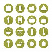 Set of  silhouette pictogram camping equipment symbols and icons with long shadow.  Design elements.