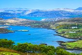 Lake And Mountains In Isle Of Skye Island. Landscape In Highlands Of Scotland, Uk, Europe.