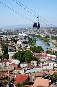 Cableway In Old Tbilisi ,view From Narikala Fortress.tiflis Is Capital And Largest City Of Georgia