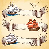 Nautical banners set set