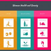 Health and woman beauty infographics