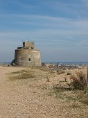 stock photo of martello  - The Martello Tower at the entrance to Sovereign Harbour - JPG