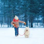 image of christmas dog  - Christmas winter and people concept  - JPG