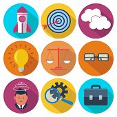 Set of 9 business, marketing colorful round icons
