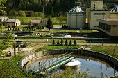stock photo of sewage  - Photo of Waste Water Treatment ponds  - JPG