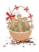 Christmas Gingerbread Man Cookies in Gift Basket