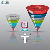 Conversion or sales funnel 3d, vector graphics