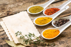 picture of recipe card  - Spices recipe background - JPG