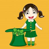image of leprechaun hat  - Cute leprechaun girl with hat enjoying on occasion of Happy St - JPG