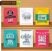picture of seasonal  - Set of six different Sale flyers with fantastic discount offer on wooden background - JPG