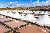 pic of salt mines  - salt piles in the saline of Janubio in Lanzarote - JPG