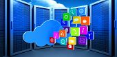 image of clouds  - Cloud with apps against bright blue sky with clouds - JPG