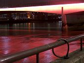 London Bridge by Night illuminated with the red lighting