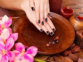 stock photo of black woman spa  - Beautiful women hands with black manicure after Spa procedures  - JPG