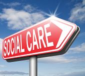 pic of social-security  - social care or health security healthcare insurance pension disability welfare and unemployment programs road sign arrow