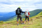 picture of multicultural  - Summer hiking in the mountains - JPG