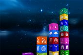 stock photo of twinkle  - Graph of apps against stars twinkling in night sky - JPG