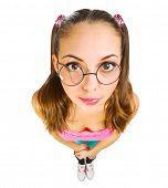 pic of nerd glasses  - Funny schoolgirl in nerd glasses isolated - JPG