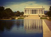 pic of abraham  - Abraham Lincoln Memorial reflection pool Washington DC US USA - JPG