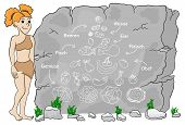 image of cave woman  - vector illustration of a cave woman explains paleo diet using a food pyramid drawn on stone (german)