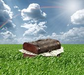 foto of treasure chest  - Treasures chest in green grass and blue cloudy sky - JPG