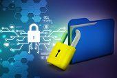 image of lock  - Folder locked Laptop showing a financial report - JPG