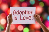picture of mother law  - Adoption is Love card with bokeh background - JPG