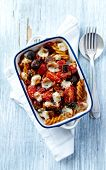 picture of aubergines  - Fusilli pasta baked with cherry tomatoes - JPG