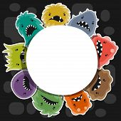 image of microbes  - Background with little angry viruses - JPG