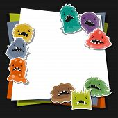 picture of microbes  - Background with little angry viruses - JPG